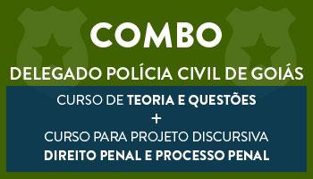 COMBO: CONCURSO PARA O CARGO DE DELEGADO DE POLÍCIA CIVIL DO ESTADO DE GOIÁS  - CURSO DE TEORIA E QUESTÕES + CURSO PARA PROJETO PROVA DISCURSIVA -  DIREITO PENAL E PROCESSO PENAL (DISCIPLINA ISOLADA)