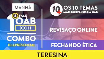 COMBO TELEPRESENCIAL: PROJETO 10MAIS + REVISAÇO ONLINE + FECHANDO ÉTICA PARA OAB 1ª FASE XXIII EXAME DE ORDEM - TERESINA (MANHÃ)
