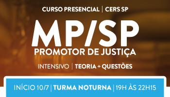 CERS SP - CURSO PRESENCIAL INTENSIVO TEORIA + QUESTÕES - PARA O MINISTÉRIO PÚBLICO DE SÃO PAULO -PROMOTOR DE JUSTIÇA