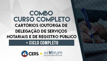 COMBO: CURSO COMPLETO PARA CONCURSOS DE CARTÓRIO (OUTORGA DE DELEGAÇÃO DE SERVIÇOS NOTARIAIS E DE REGISTROS PÚBLICOS) 2020 + CICLO COMPLETO-CARTÓRIO 2020